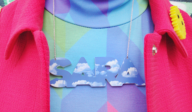 Tatty Devine, name necklace, cloud perspex