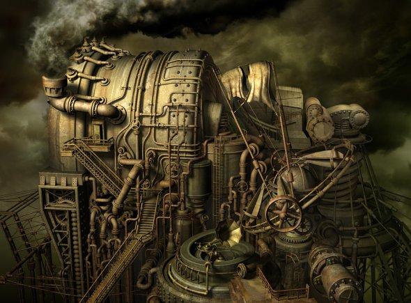 Kazuhiko Nakamura arte deviantart ilustrações modelos 3D surreal steampunk cyberpunk sombrio bizarro