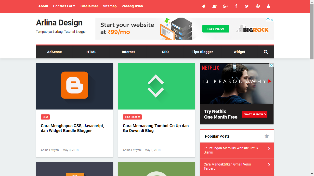 Custom Blogger Templates Arlina Design