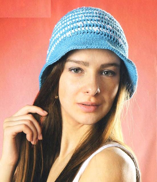 Бело-голубая шляпка. White-blue lady hat