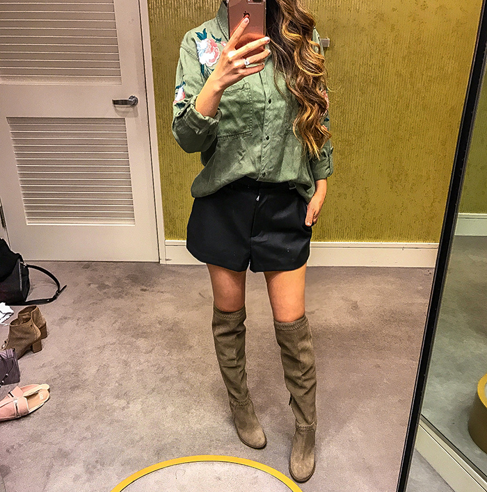 Nordstrom anniversary sale, nordstrom anniversary sale 2017, nordstrom anniversary sale 2017 try on haul, san francisco fashion blog, san francisco style blog, nsale picks, rails embroidered military shirt, faux leather shorts, vince camuto over the knee boots