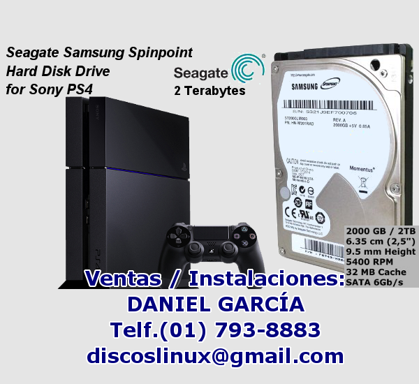 Disco Duro interno 2TB para PS4 en Lima Peru, Seagate Samsung Spinpoint instalacion configuracion venta envio delivery, MercadoLibre