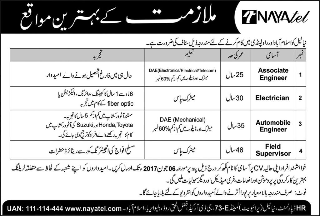 Jobs in Nayatel Islamabad and Rawalpindi 28 May 2017