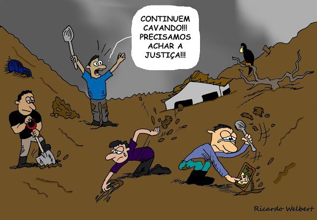 Charge de Ricardo Welbert sobre a suspensão do processo por homicídio no caso do rompimento da barragem de Fundão, em Mariana