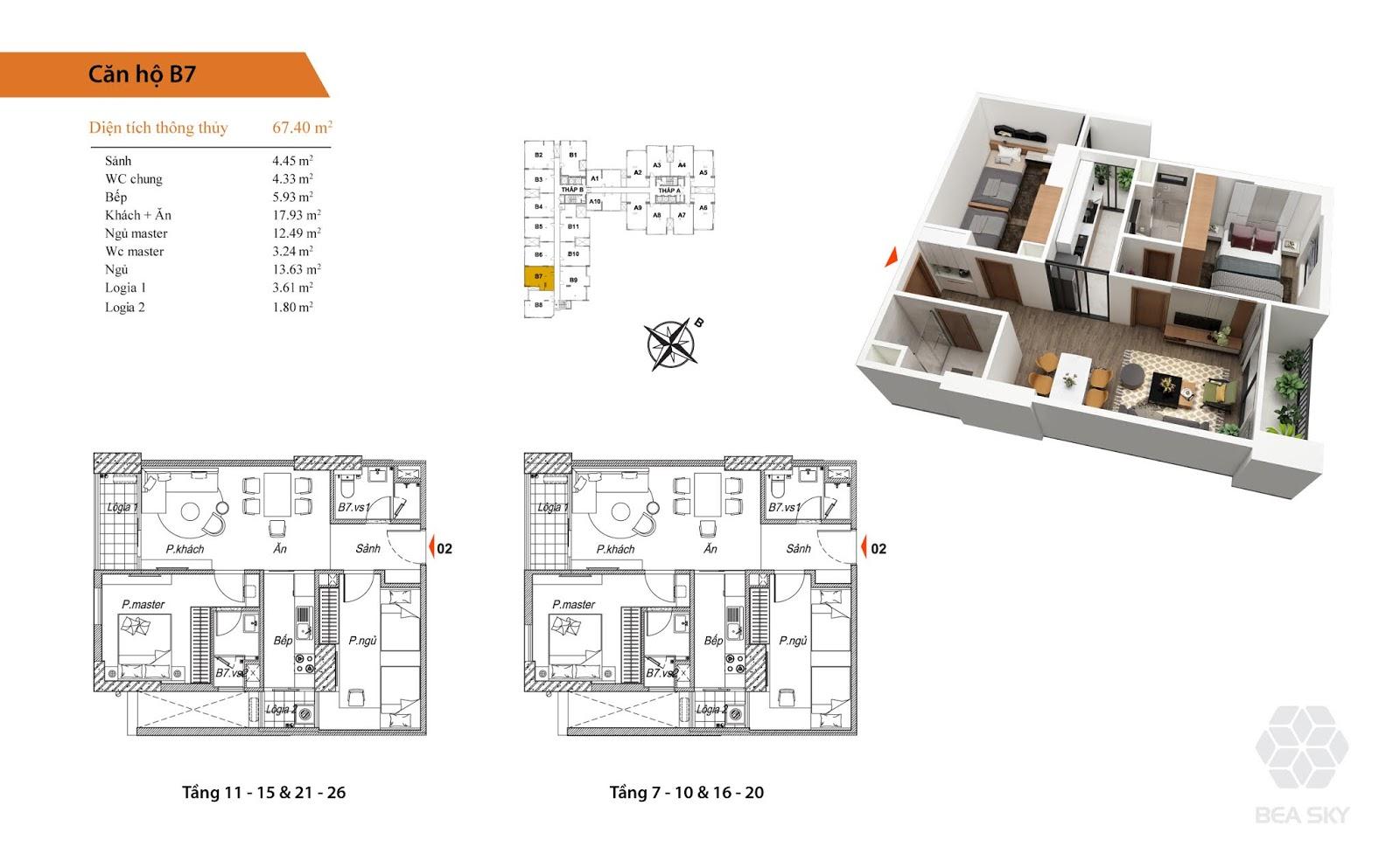 Thiết kế căn B7 chung cư Bea sky nguyễn xiển