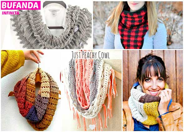 cuellos-bufandas infinitas ganchillo, patrones para crochet