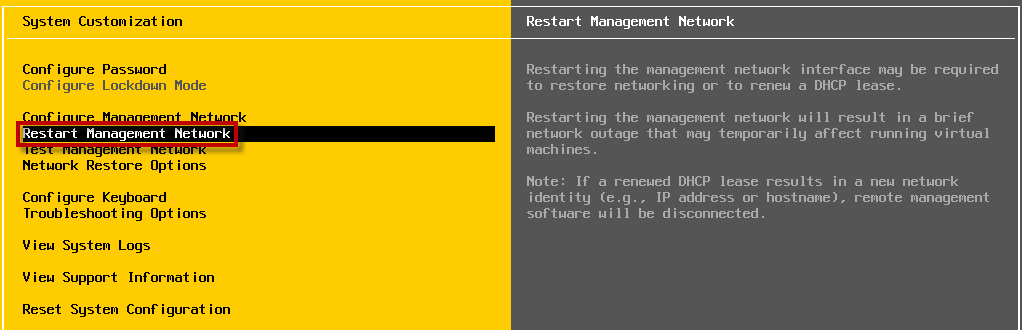 How to restart the ESXi management network via command-line?