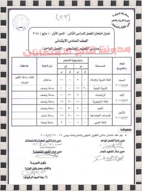 جدول امتحانات الشهادة الابتدائية بمحافظة المنوفيه 2018 للصف السادس الابتدائى اخر العام