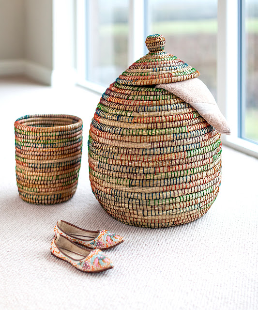 Kaisa Lidded Berber Basket and Small Waste Basket