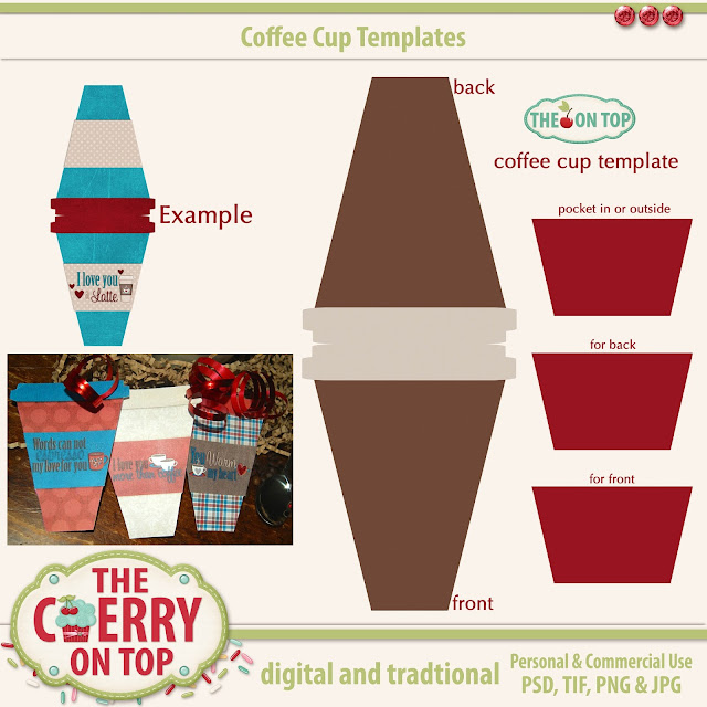 coffee cup templates for cards and tags