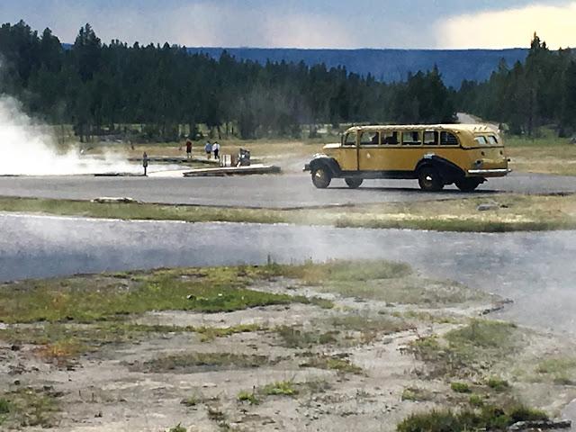 """1937 White Yellowstone National Park Motor Coach on the """"Geyser Gazer"""" tour"""