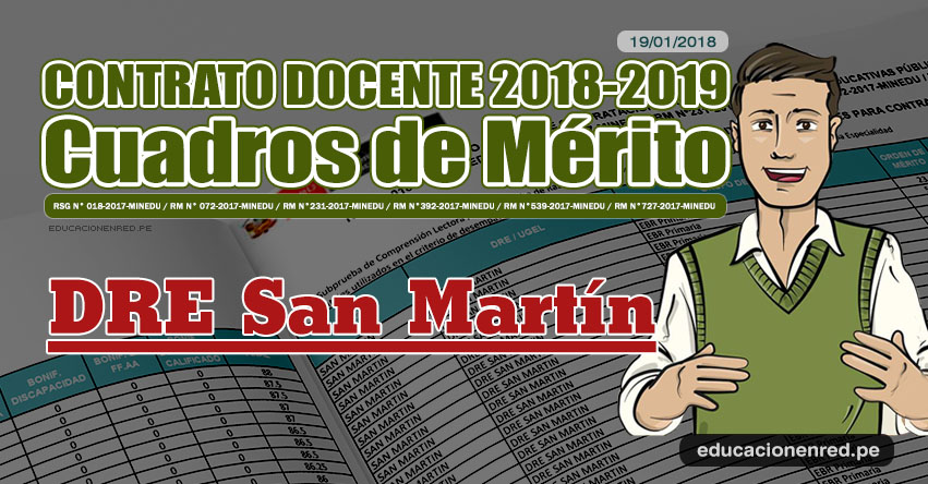 DRE San Martín: Cuadros de Mérito Contrato Docente 2018 - 2019 (.PDF) www.dresanmartin.gob.pe