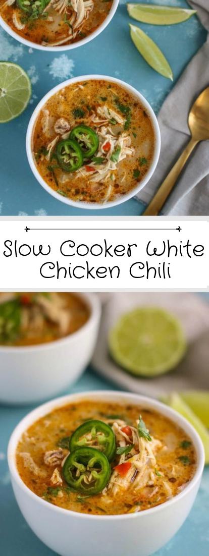 Slow Cooker White Chicken Chili #healthyfood #dietketo