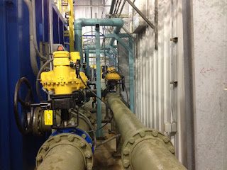 Kinetrol pneumatic actuators installed on pipeline.