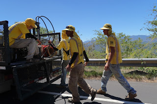 Road workers in Costa Rica.