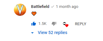 Screenshot of official Battlefield channel loving the video in the comments
