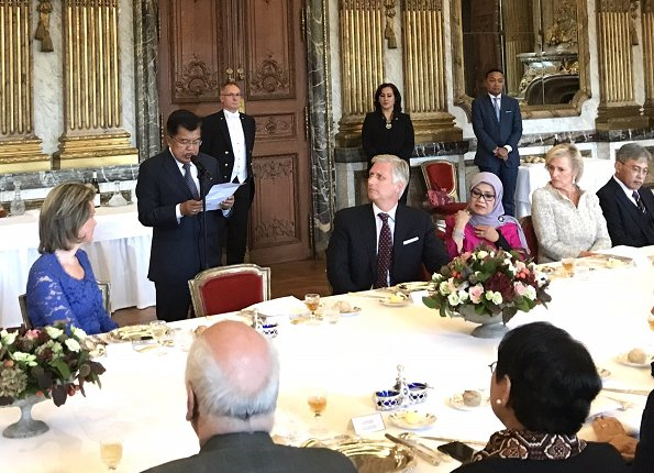 King Philip and Queen Mathilde, Jusuf Kalla and his wife, Princess Astrid attended the lunch