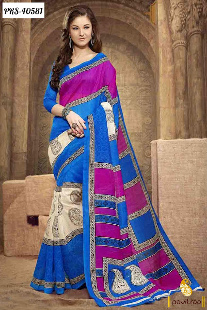 Pure Silk Blue Pink Casual Saree at pavitraa.in