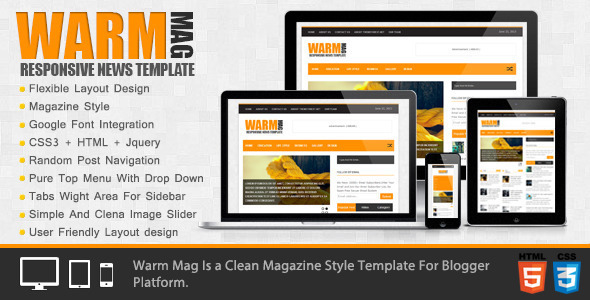 WarmMag Blogger Template - Download Template Blogger Magazine Warm Mag