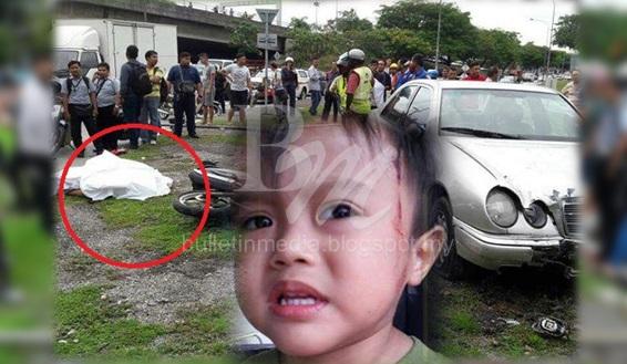 """Sayu : """"Abah bangun lah"""".. Bapa maut anak cedera motosikal dilanggar kereta (7 Gambar)"""