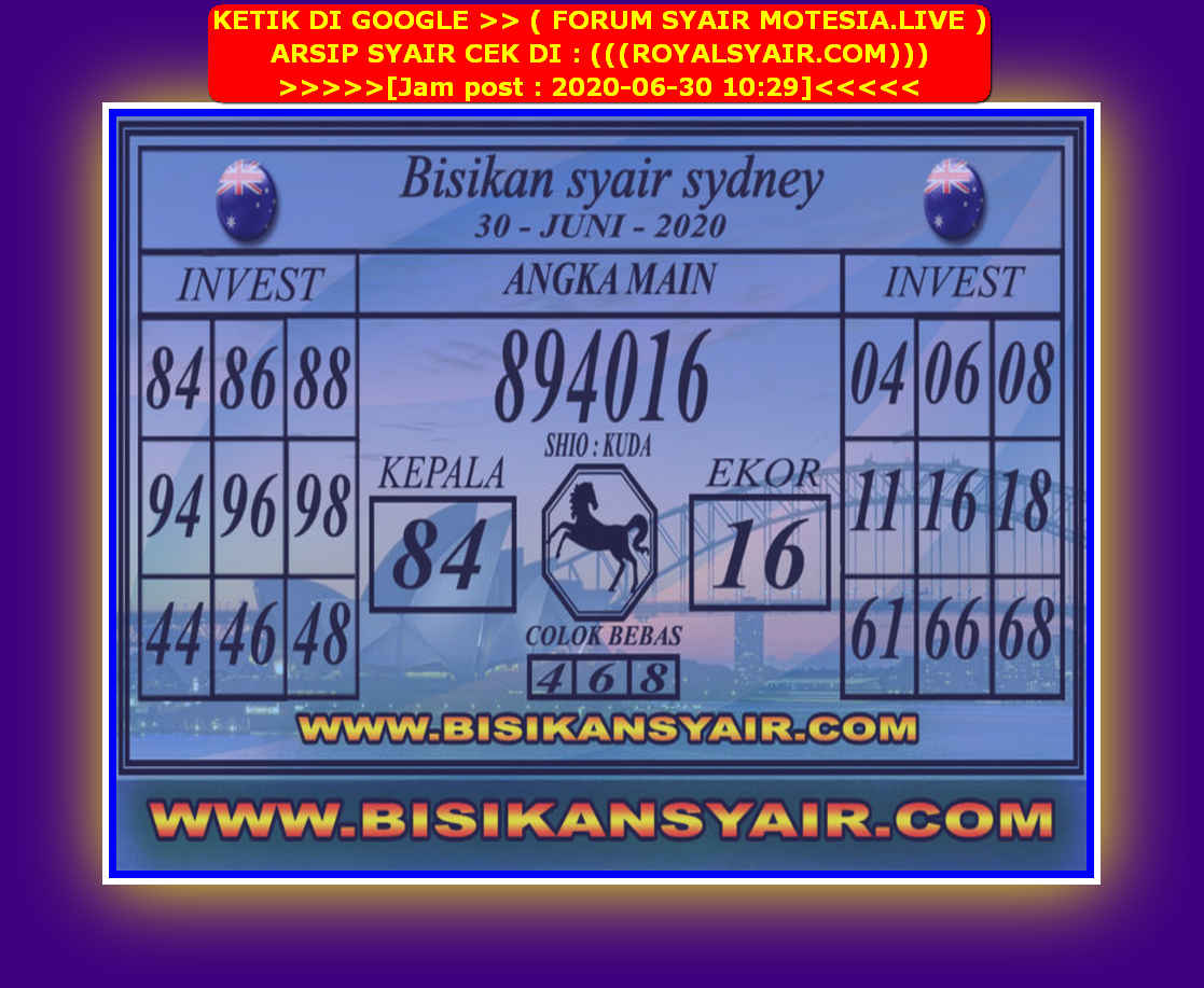 Kode syair Sydney Selasa 30 Juni 2020 88