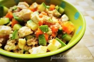 cous cous farro con pollo e verdure