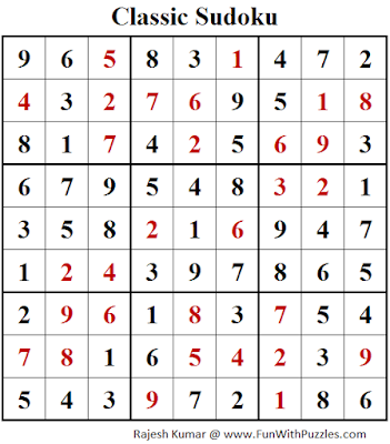 Classic Sudoku (Fun With Sudoku #112) Solution