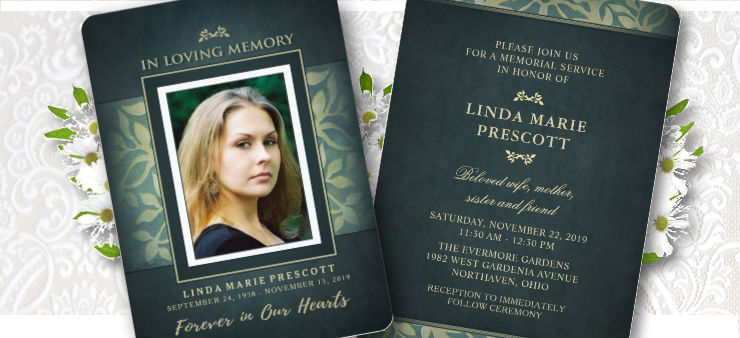 beautiful teal and gold ladies photo memorial service invitation