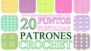 20 Patrones de Puntos ~ Puntadas Crochet / Calados