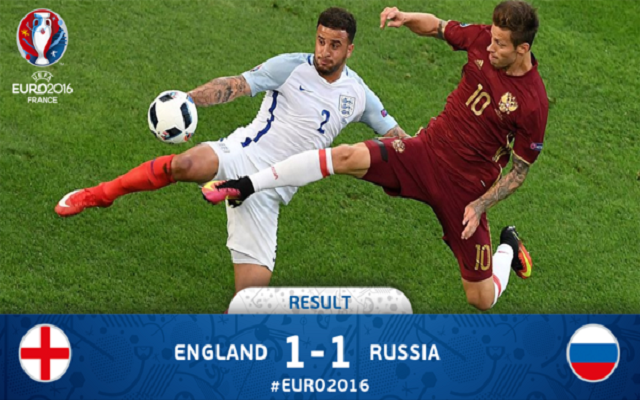 UEFA Euro 2016: England vs Russia [1:1], Russian equaliser [Video]