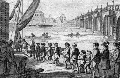 english convicts being loaded aboard ship for transport to the new world