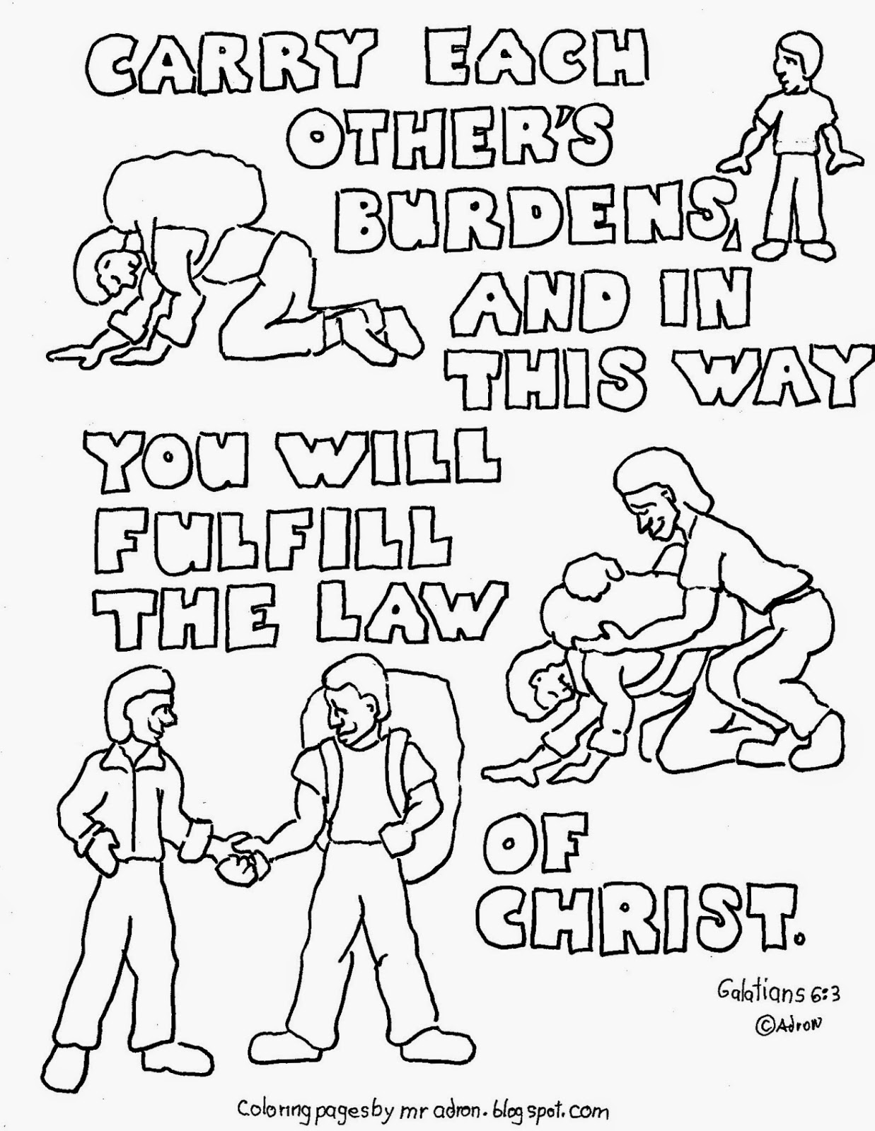 Coloring Pages For Kids By Mr Adron Carry Each Others