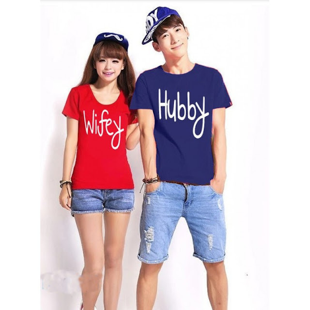 Baju Kaos Couple Model Keren Gambar Wifey & Hubby CP03