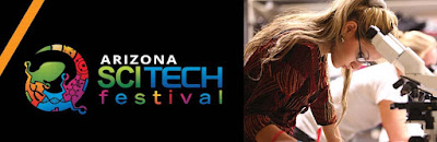 black banner with AZ SCITECH festival and a gecko next to image of a person taking notes next to lab equipment