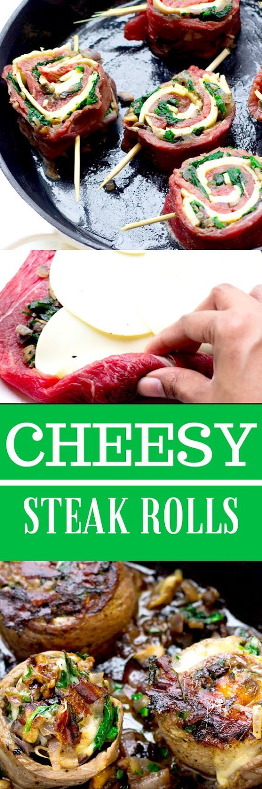 QUICK CHEESY CRUSTED SPINACH AND MUSHROOM STEAK ROLLS