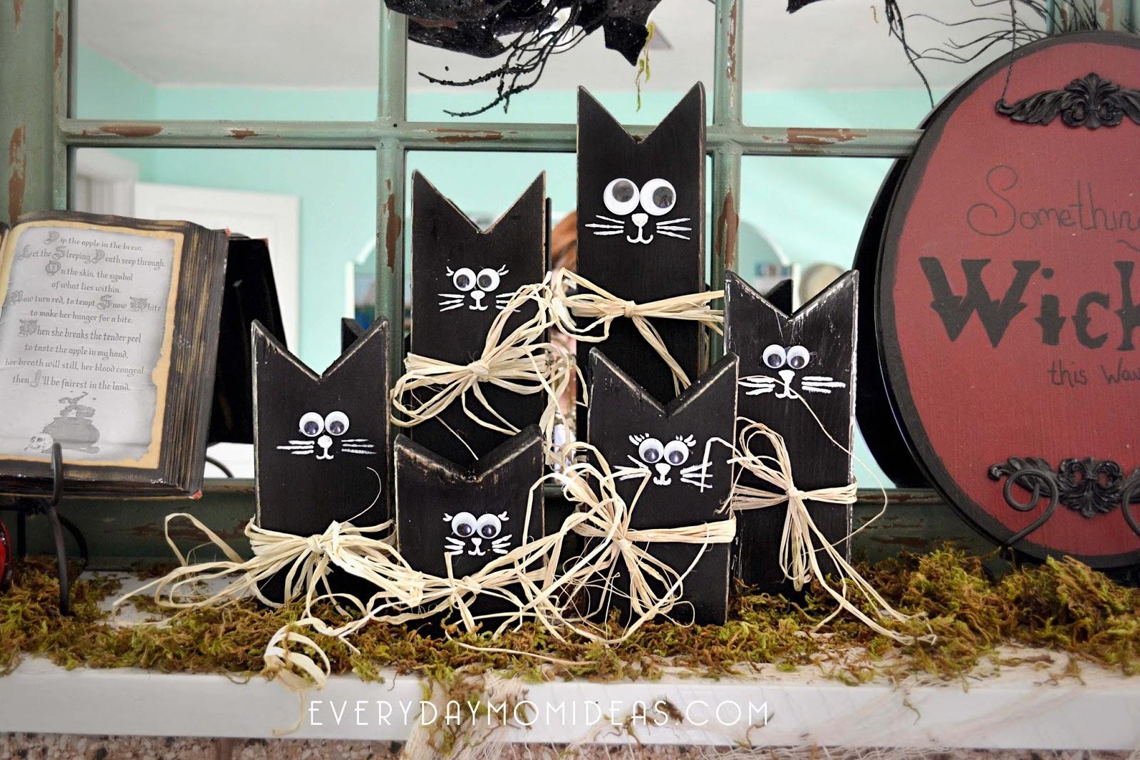 2x4 Wooden Black Cat Family Easy Diy Halloween Decoration Craft