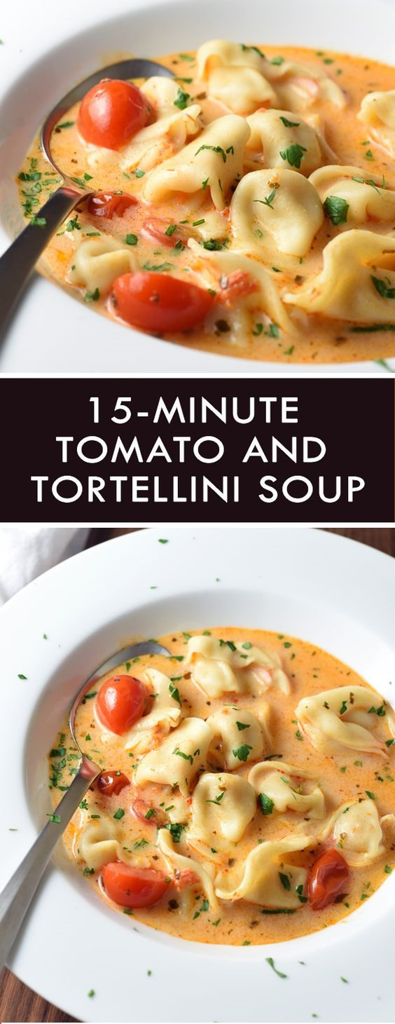 15-MINUTE TOMATO AND TORTELLINI SOUP  #masonjar #healthy #recipes #greatist #vegetarian #breakfast #brunch  #legumes #chicken #casseroles #tortilla #homemade #popularrcipes #poultry #delicious #pastafoodrecipes  #Easy #Spices #ChopSuey #Soup #Classic #gingerbread #ginger #cake #classic #baking #dessert #recipes #christmas #dessertrecipes #Vegetarian #Food #Fish #Dessert #Lunch #Dinner #SnackRecipes #BeefRecipes #DrinkRecipes #CookbookRecipesEasy #HealthyRecipes #AllRecipes #ChickenRecipes #CookiesRecipes #ріzzа #pizzarecipe #vеgеtаrіаn #vegetarianrecipes #vеggіеѕ #vеgеtаblеѕ #grееnріzzа #vеggіеріzzа #feta #pesto #artichokes #brоссоlіSаvе   #recipesfordinner #recipesfordinnereasy #recipeswithgroundbeef  #recipeseasy #recipesfordinnerhealth #AngeliqueRecipes #RecipeLion #Recipe  #RecipesFromTheBlog #RecipesyouMUST #RecipesfromourFavoriteBloggers #BuzzFeed #Tasty #BuzzFeed #Tasty #rice #ricerecipes #chicken #dinner #dinnerrecipes #easydinner #friedrice #veggiespeas #broccoli #cauliflower #vegies,  #vegetables