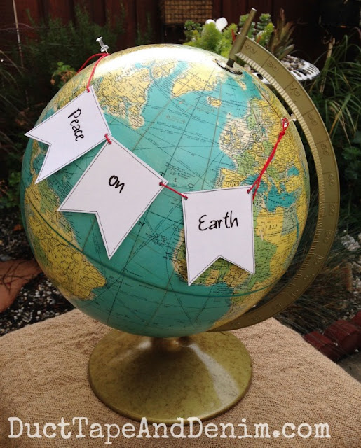 Easy decorating idea. Peace on Earth: holiday garland on globe