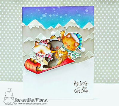 Bring on the Snow Card by Samantha Mann for Newton's Nook Designs, Newton's Toboggan, Christmas, Winter, Cards, Snow, Mountains, Distress Inks #distressinks #inkblending #newtonsnook #cards #winter #moutnains #stencil