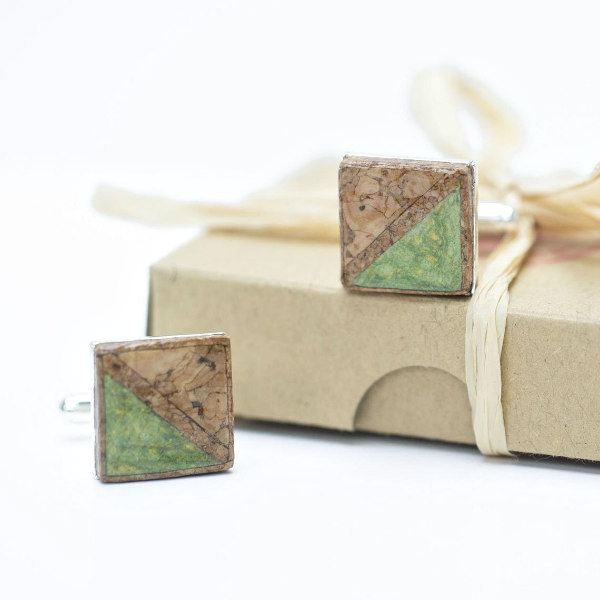pair of square cork and green paper cufflinks