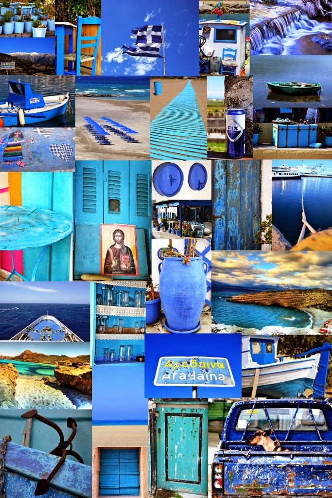 The Greek Blue Color Repeating Every Where From Houses To Boats Flower Pots Furnitures Etc I Just Love This That Reflects Also In Sea