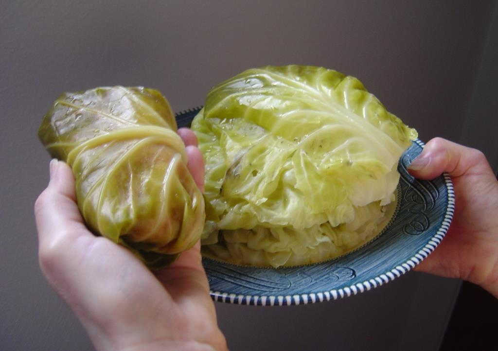 Stuffed Cabbage roll and plate of leaves
