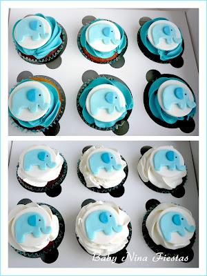 Cupcakes baby shower niño elefante