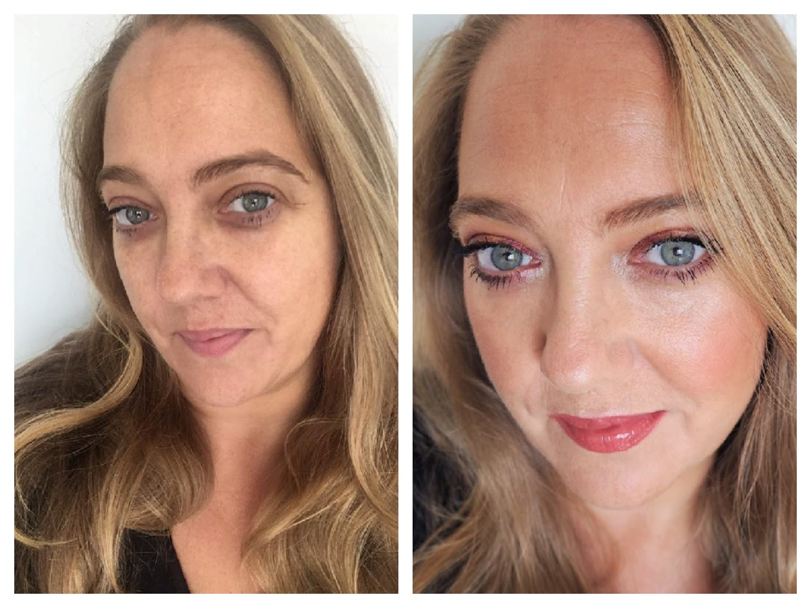 Before and After wearing Tarte TSV