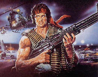 Macho Sylvester Stallone as Rambo with machine gun