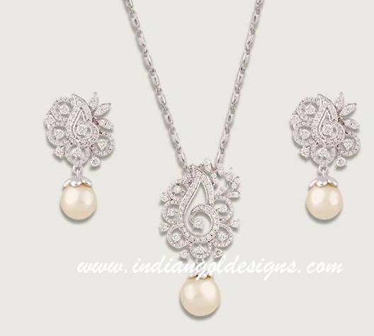 Gold and Diamond jewellery designs TBZ diamond pendant set