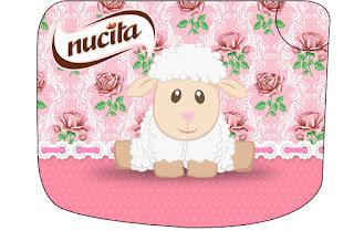 Ovejita en Shabby Chic de Rosas Rosadas: Etiquetas para Candy Bar para Imprimir Gratis.