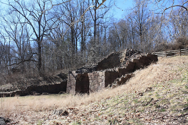 Remains of the anthracite furnace at Hopewell Furnace