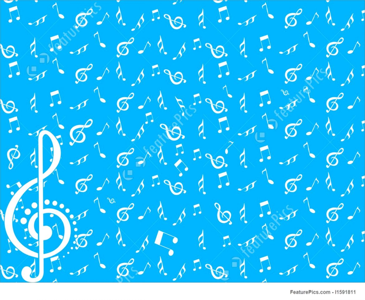Musical Instruments Vector Wallpaper With Music Notes On Blue