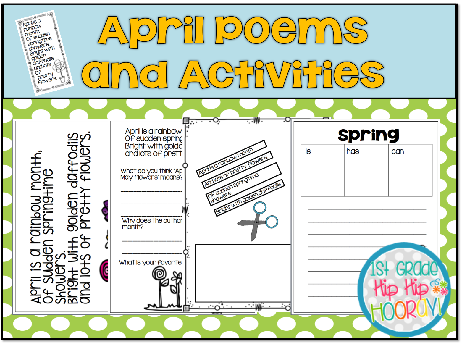 1st Grade Hip Hip Hooray April Poetry Ad Write